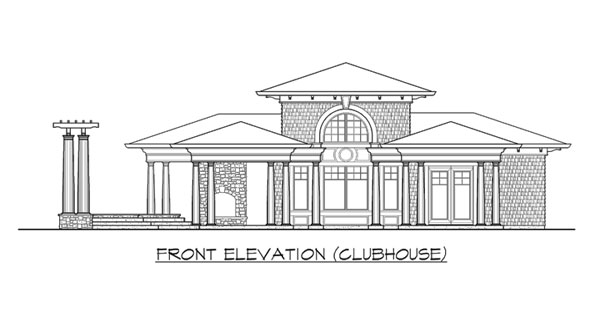 Front elevation sketch of the clubhouse of two-story The Retreat at Waters Edge.