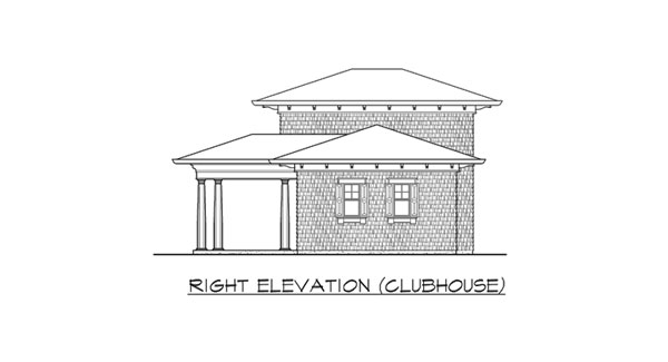 Right elevation sketch of the clubhouse of two-story The Retreat at Waters Edge.