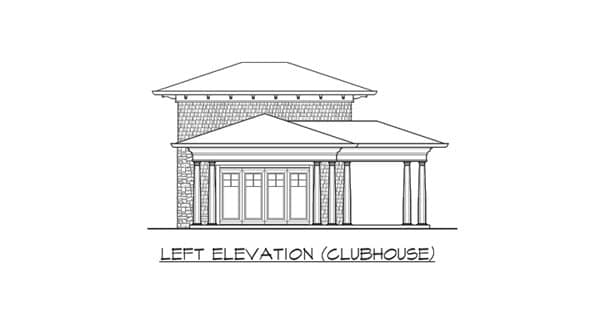 Left elevation sketch of the clubhouse of two-story The Retreat at Waters Edge.