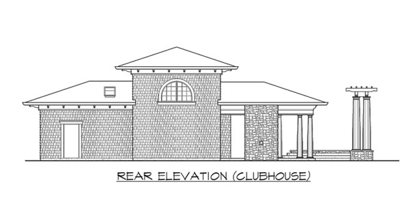 Rear elevation sketch of the clubhouse of two-story The Retreat at Waters Edge.