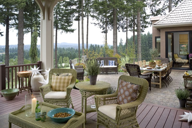 The angled view shows more sitting area over the wooden deck.