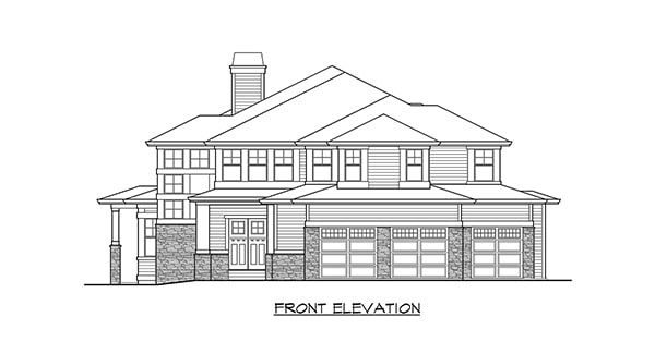Front elevation sketch of the two-story Willowcrest home.