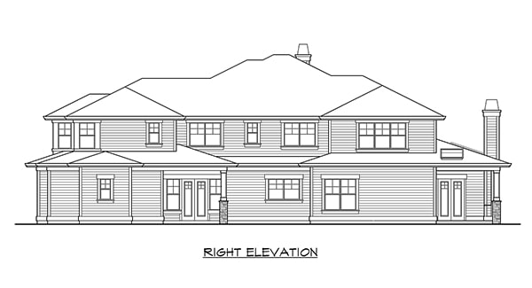 Right elevation sketch of the two-story Willowcrest home.