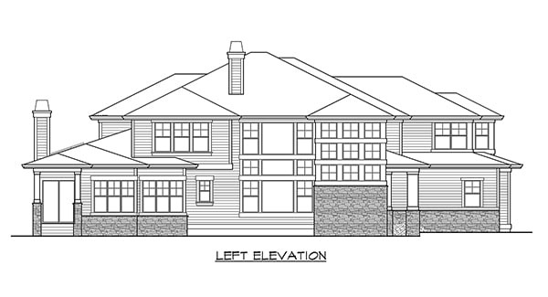 Left elevation sketch of the two-story Willowcrest home.