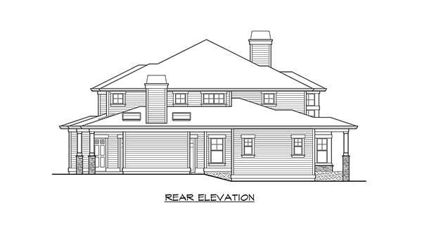 Rear elevation sketch of the two-story Willowcrest home.