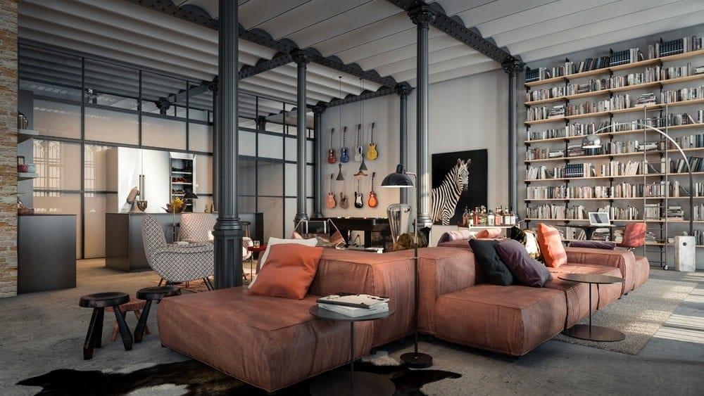 Family room in the Casa Burés designed by Estudio VILABLANCH + TDB Arquitectura.
