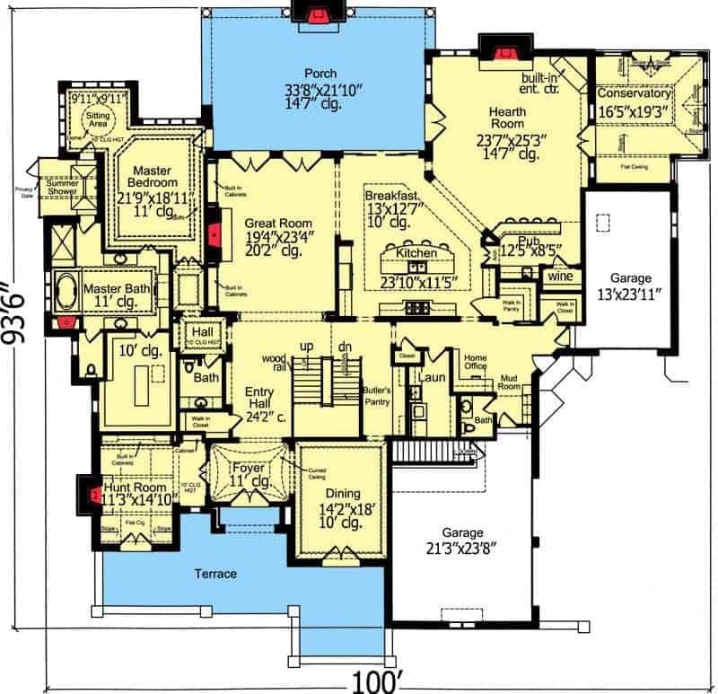This is the detailed main level floor plan of this Traditional-style home. You can see here that there are several rooms surrounding the great room that aims to maximize the floor space with functionality.