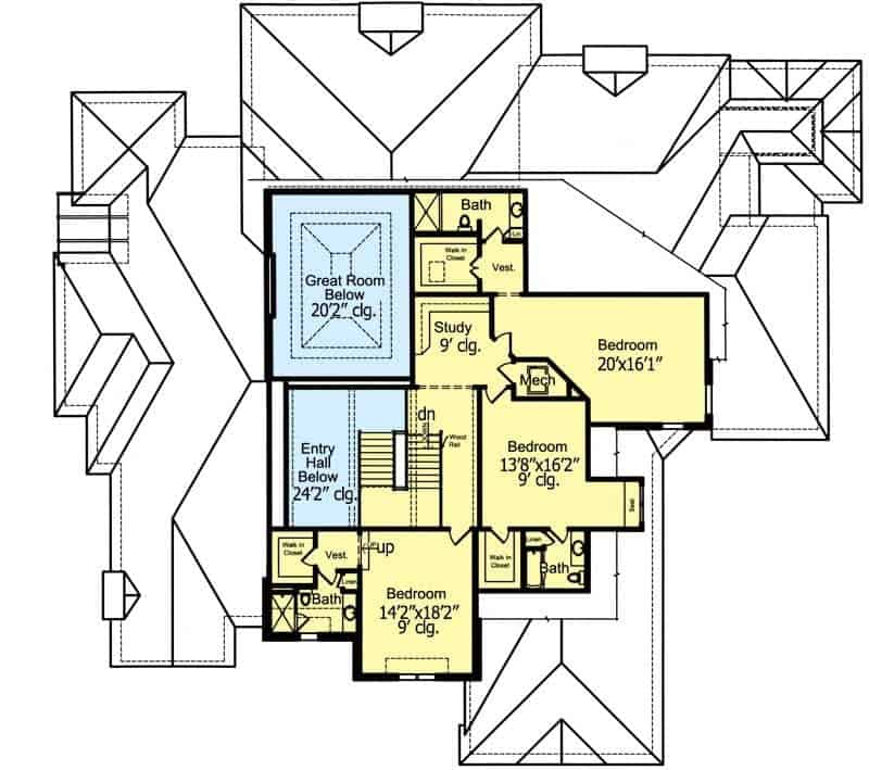 This is the second level floor plan that has a smaller floor space as the main level. The space of the second level is mainly dedicated to bedrooms.