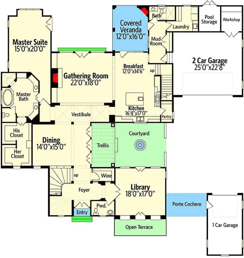 This is the main level floor plan of this Country-style home large rooms and spaces dedicated to open areas.