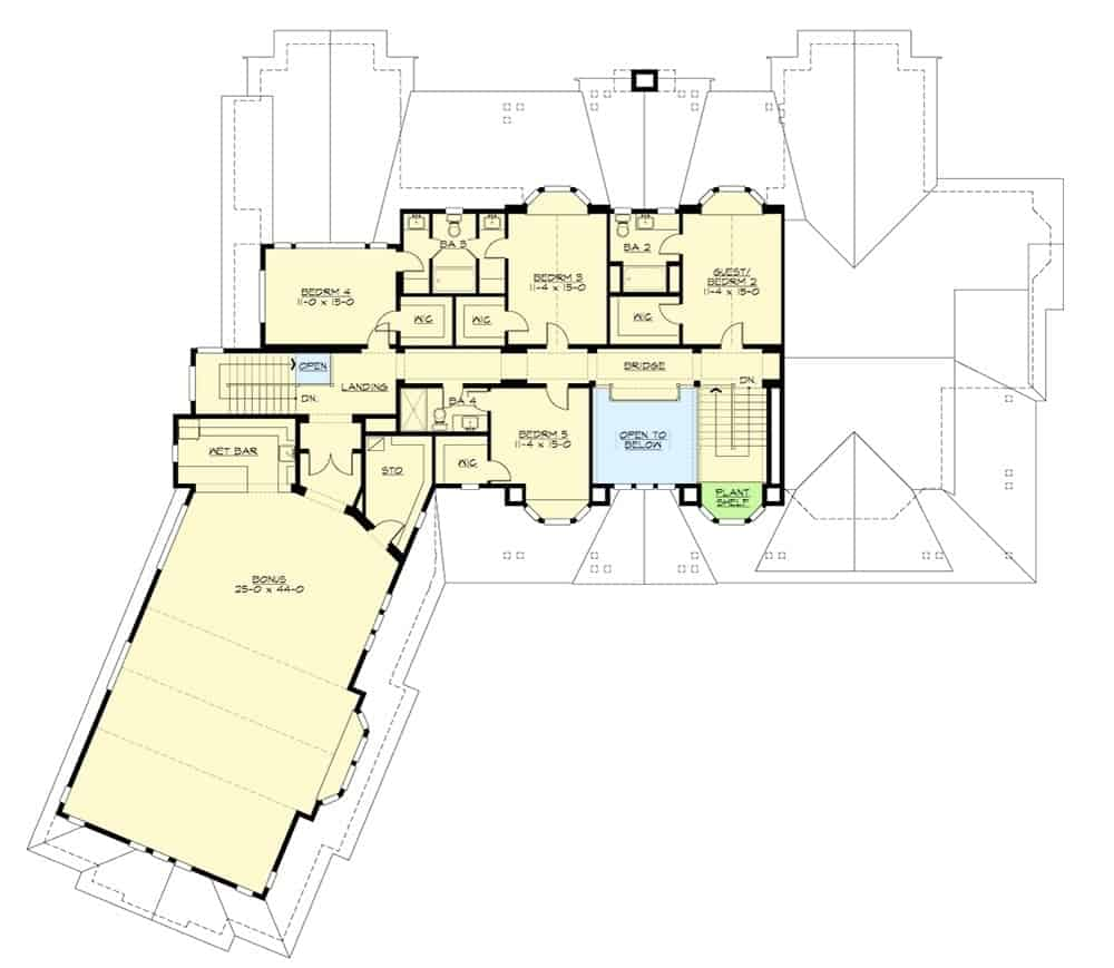 The second level floor plan of this five-bedroom two story home that has a large bonus room with a wet bar.