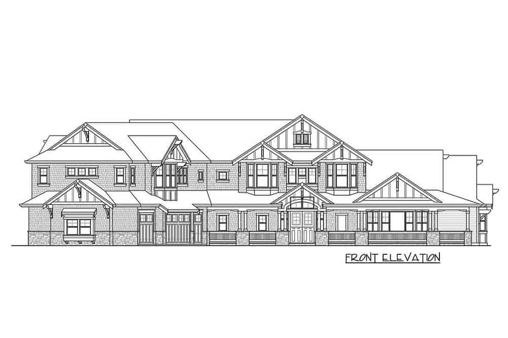 This is the front elevation of the house where you can see the small columns supporting the porch ceiling.
