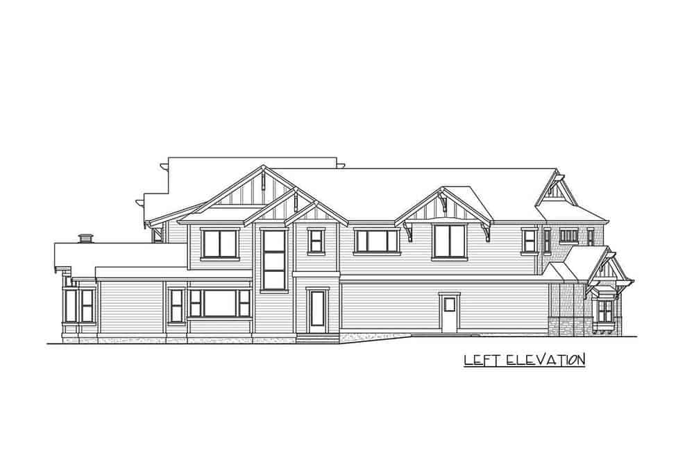 The left elevation of the home tall glass windows and a couple of exits.