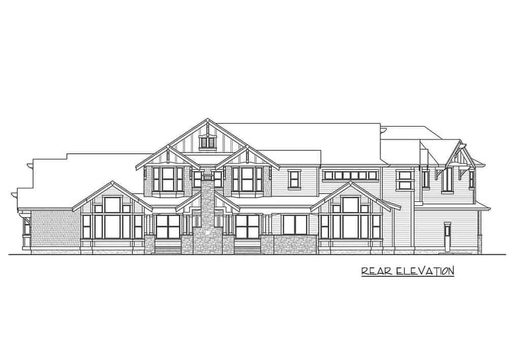 The rear elevation illustrates the position of the outdoor fireplace of the outdoor covered living room.