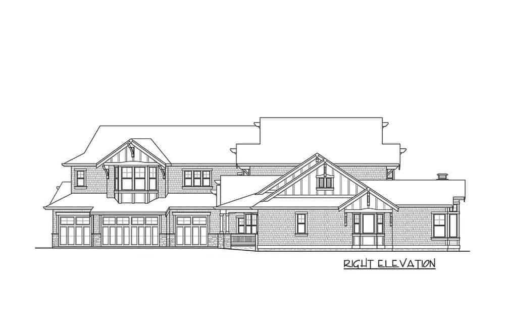 The right elevation of the house that showcases the tall glass walls.