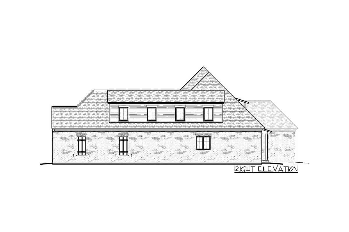 Right elevation sketch of the two-story Acadian home.