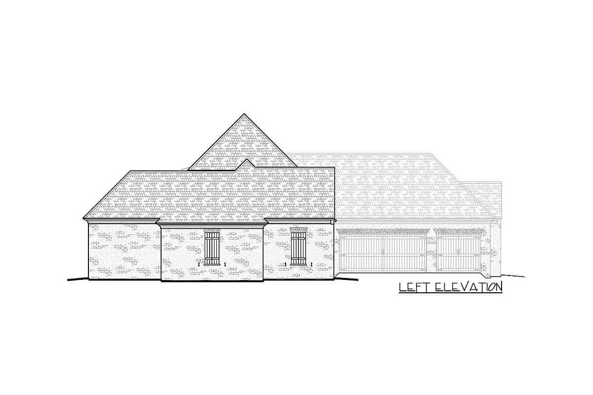 Left elevation sketch of the two-story Acadian home.