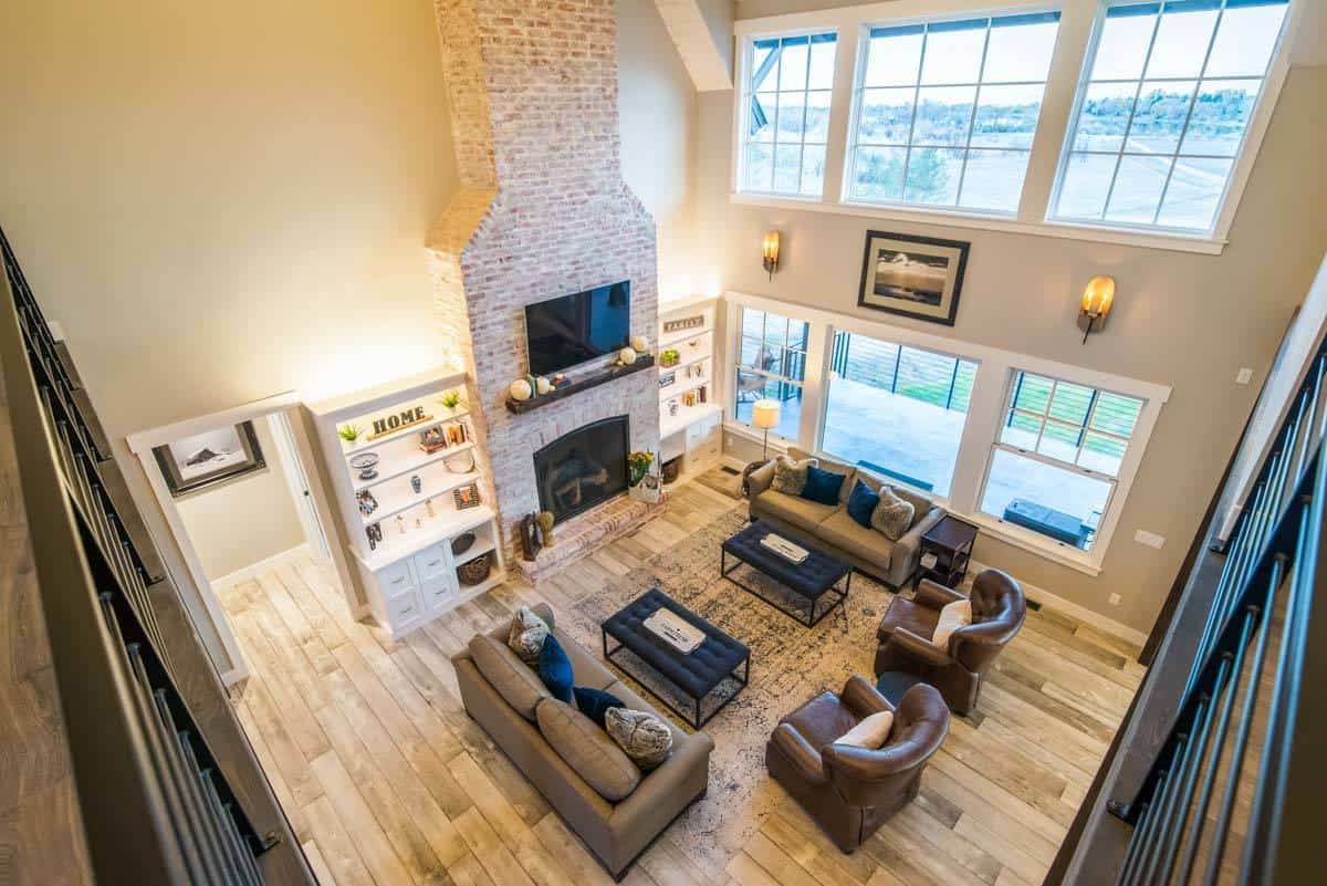 View of the living room from the second-floor loft.
