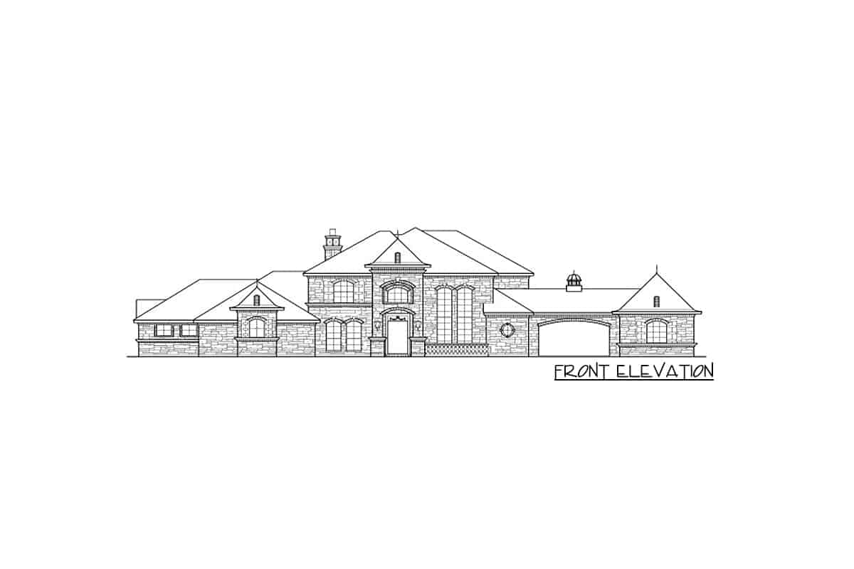 Front elevation sketch of the 5-bedroom two-story dramatic manor home.