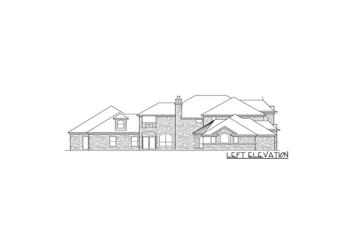 Left elevation sketch of the 5-bedroom two-story dramatic manor home.