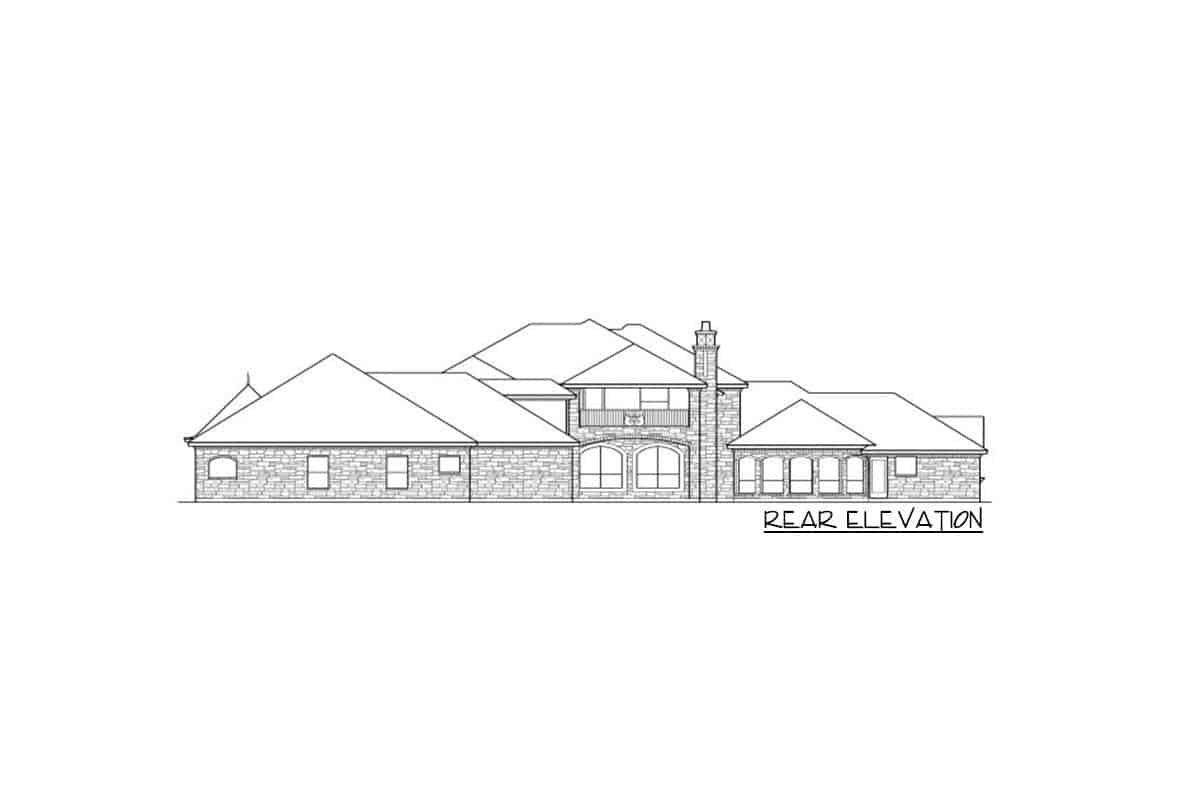 Rear elevation sketch of the 5-bedroom two-story dramatic manor home.