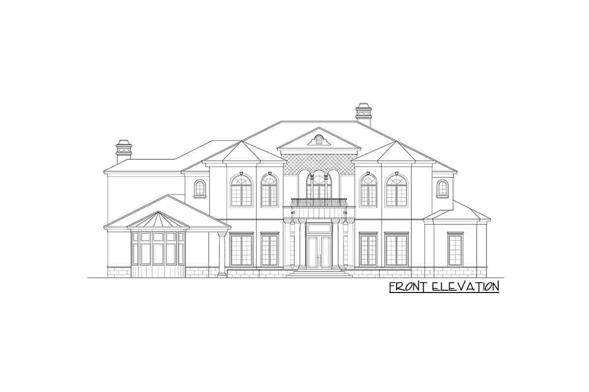 Front elevation sketch of the two-Story Mediterranean home.