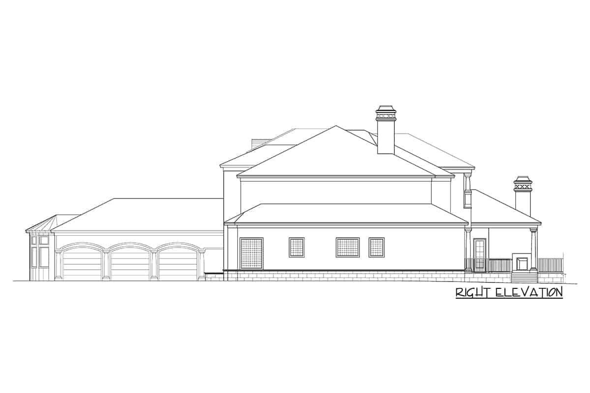 Right elevation sketch of the two-Story Mediterranean home.