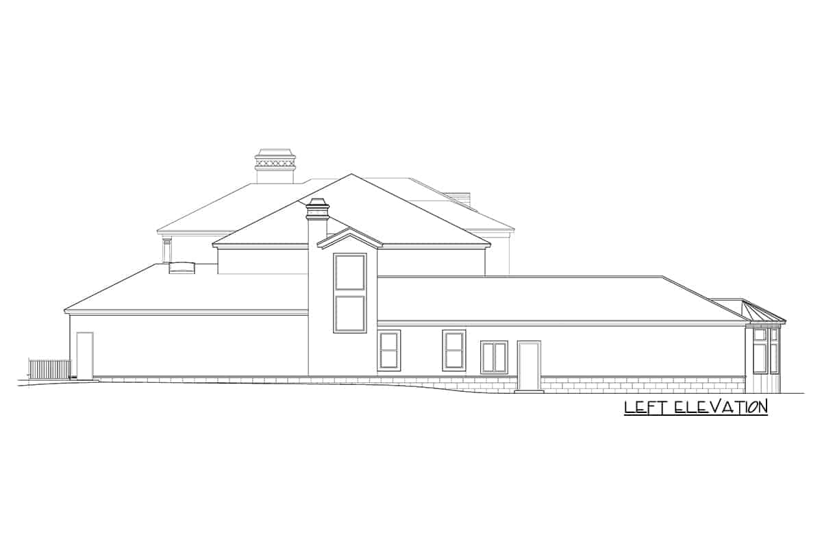 Left elevation sketch of the two-Story Mediterranean home.
