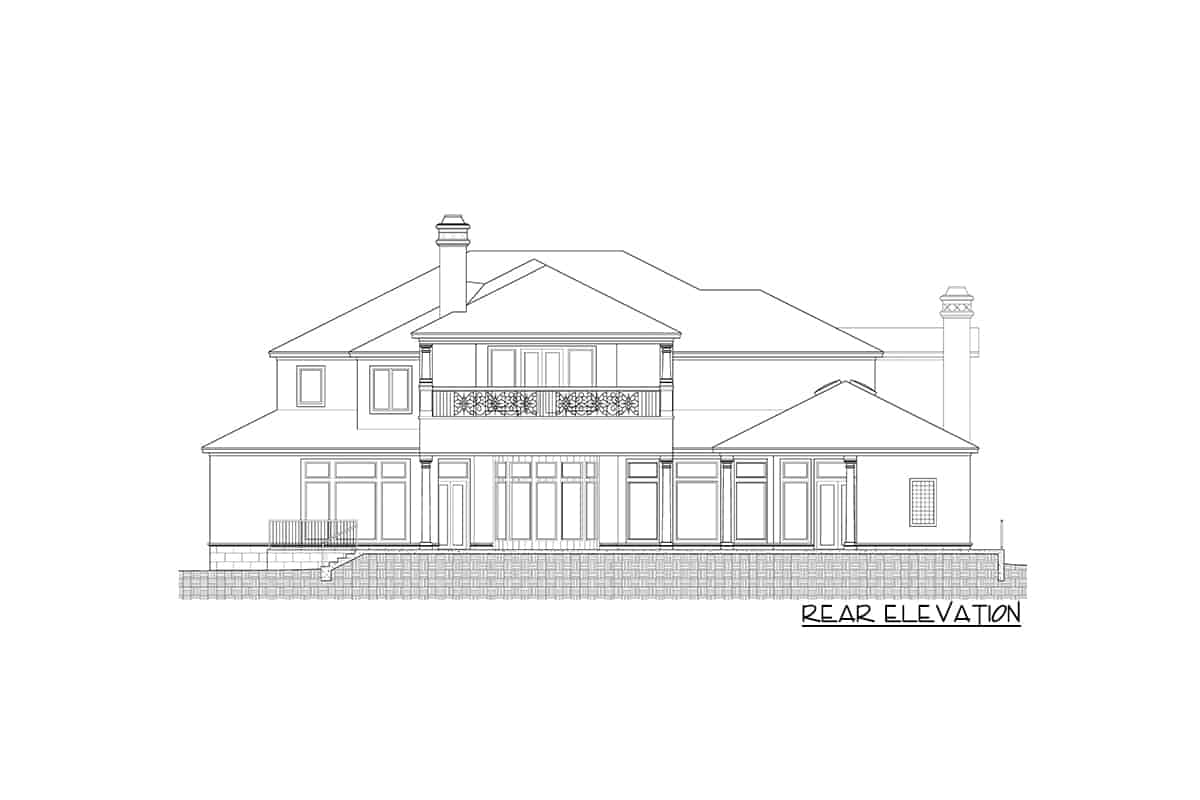 Rear elevation sketch of the two-Story Mediterranean home.