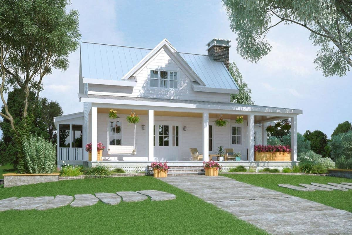 5 Bedroom Two Story Modern Farmhouse With Wraparound Porch Floor Plan Home Stratosphere