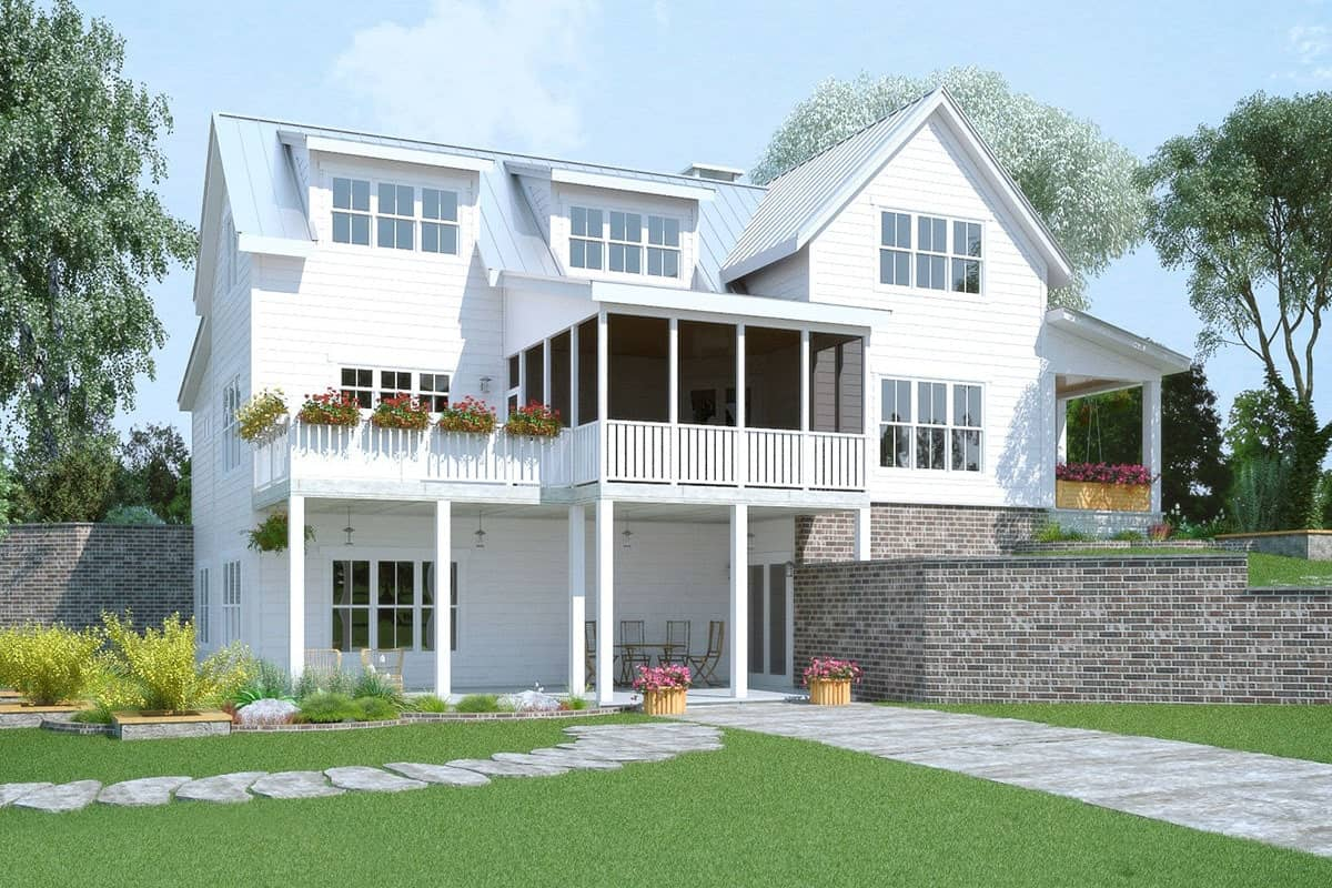 The opposite side view shows the screened porch and covered patio.
