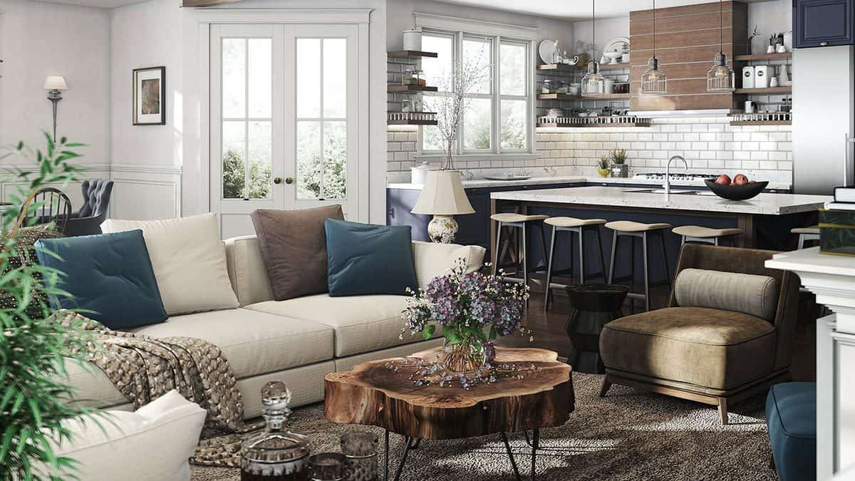 The living room offers cozy fabric seats and a stump coffee table over a brown area rug.