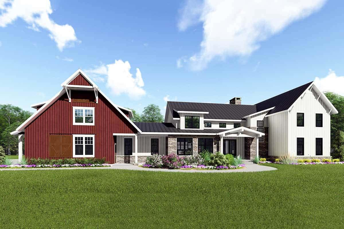 5-Bedroom Two-Story Modern Farmhouse with Barn-Style Garage