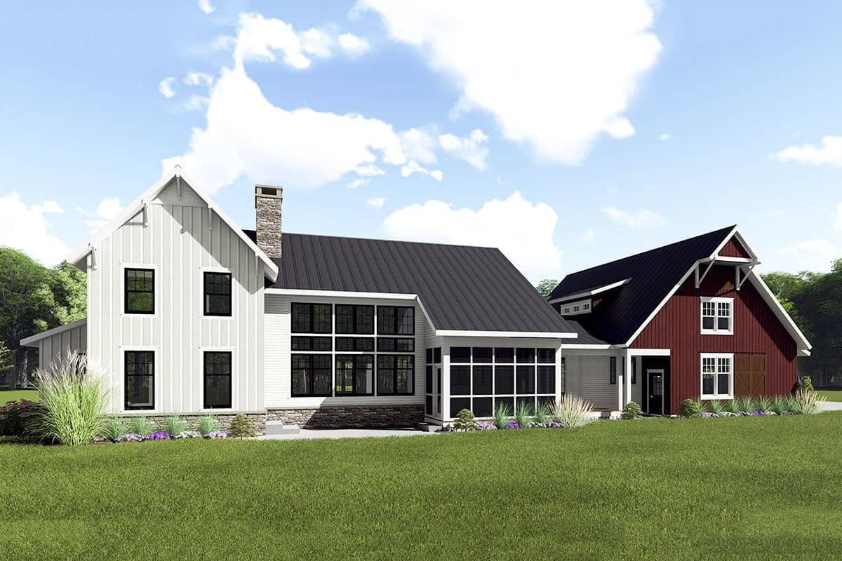 The rear exterior view shows the screened and grilling porches and the patio by the three-car garage.
