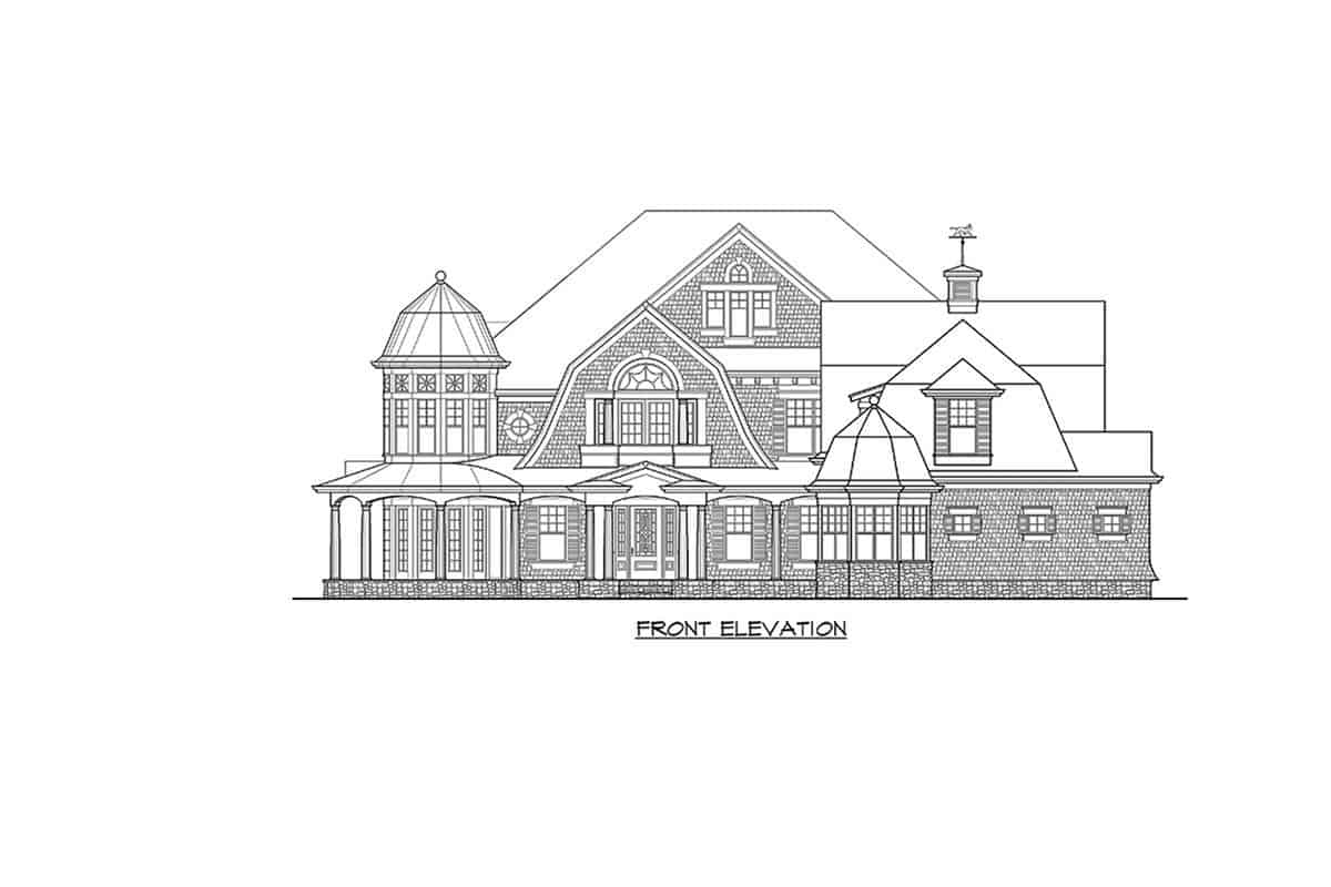 Front elevation sketch of the two-story Newport home.