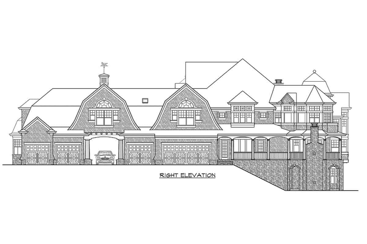 Right elevation sketch of the two-story Newport home.