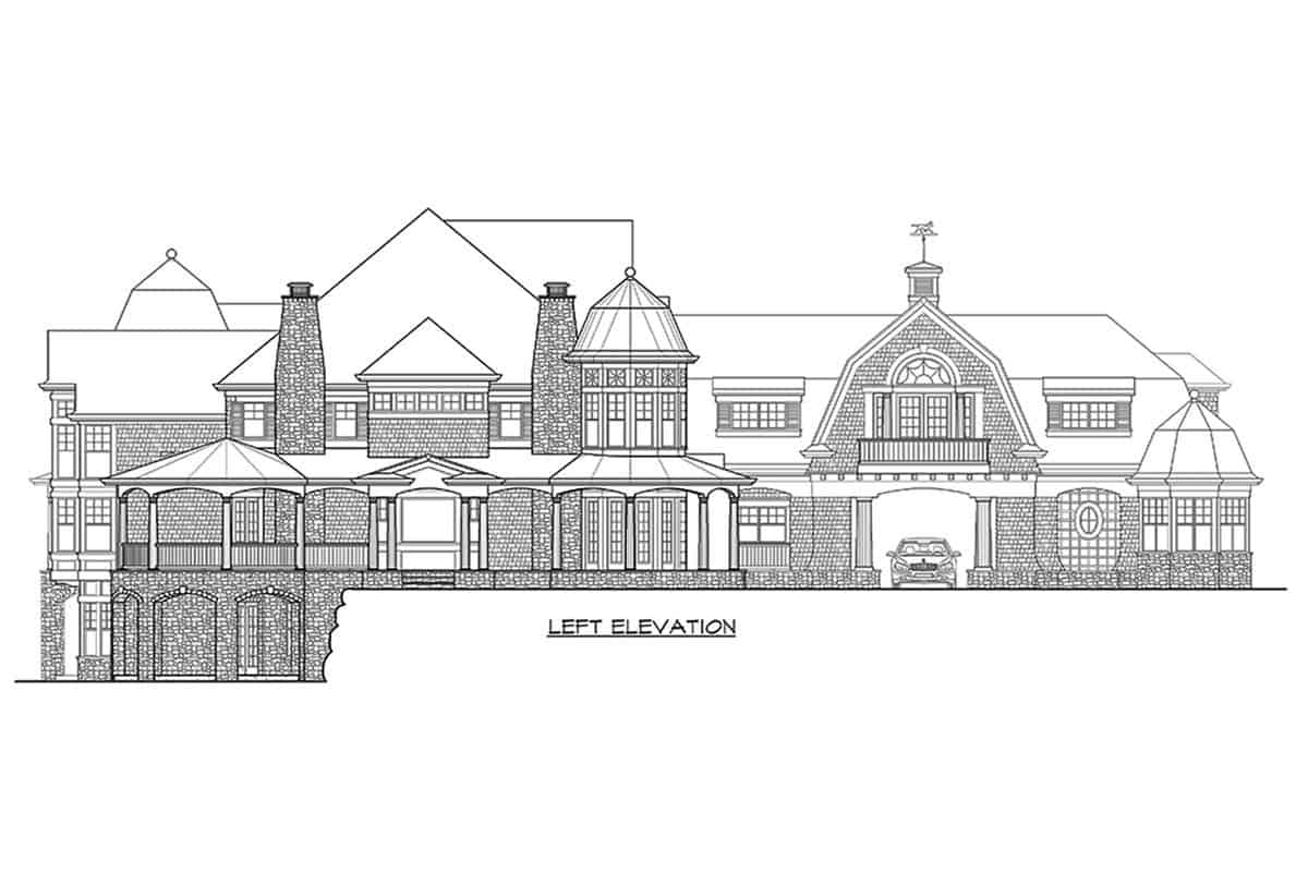 Lft elevation sketch of the two-story Newport home.