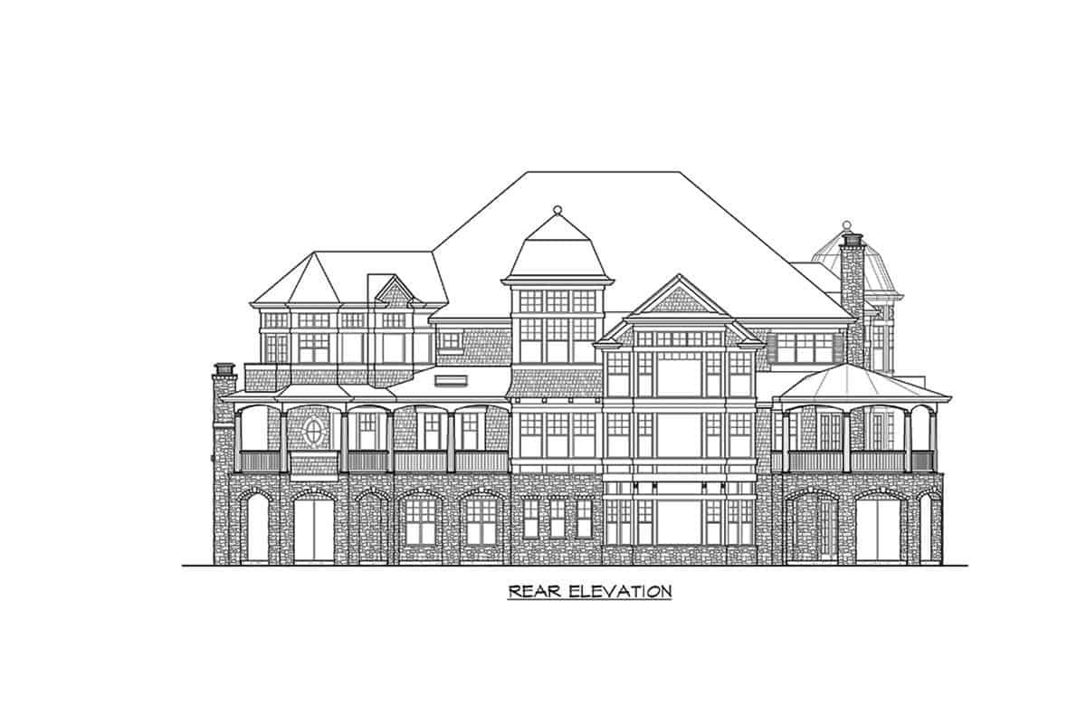 Rear elevation sketch of the two-story Newport home.