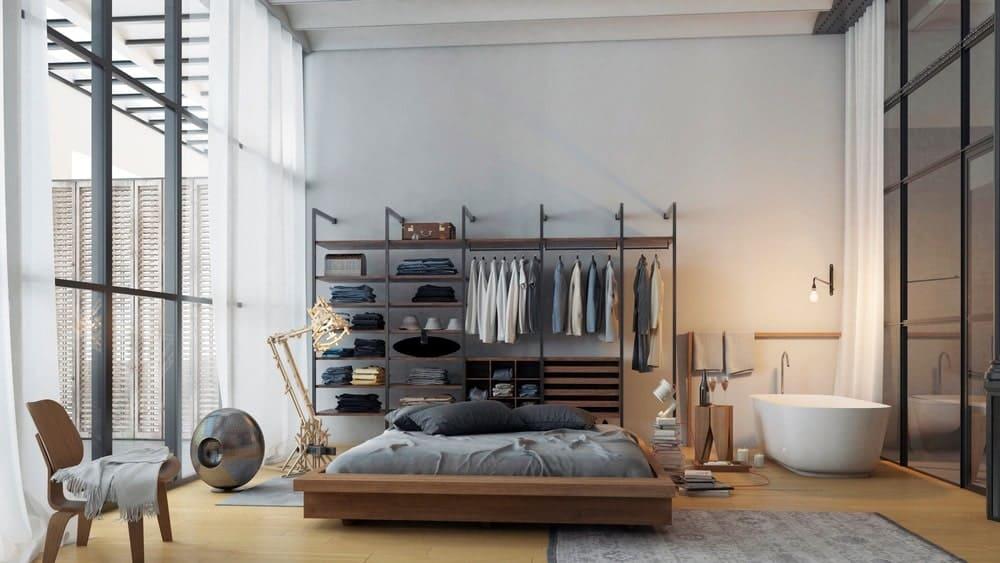 Primary bedroom in the Casa Burés designed by Estudio VILABLANCH + TDB Arquitectura.