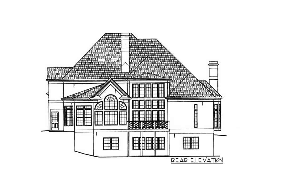 Rear elevation sketch of the two-story grand Georgian home.