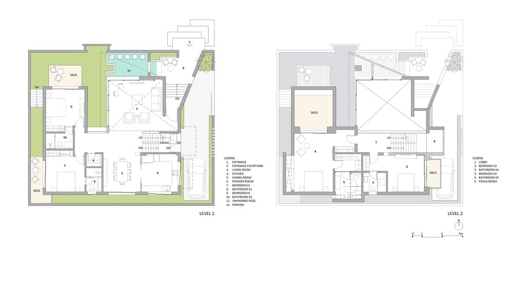 Level 1 and 2 floor plans of the Chhavi House (Oasis in the Thar Desert) designed by Abraham John Architects.
