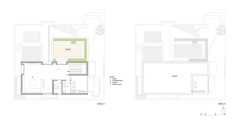 Level 3 and 4 floor plans of the Chhavi House (Oasis in the Thar Desert) designed by Abraham John Architects.