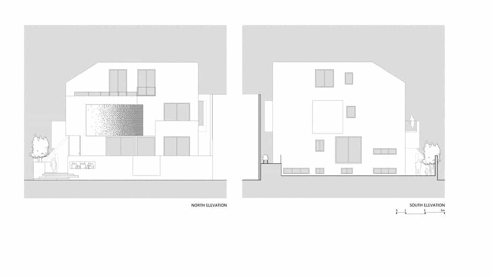 North and south elevation sketches of the Chhavi House (Oasis in the Thar Desert) designed by Abraham John Architects.