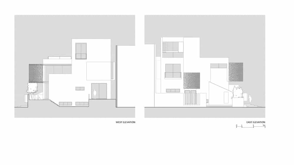 West and east elevation sketches of the Chhavi House (Oasis in the Thar Desert) designed by Abraham John Architects.