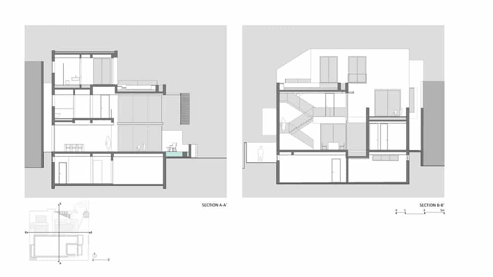 Section A-A and B-B sketches of the Chhavi House (Oasis in the Thar Desert) designed by Abraham John Architects.