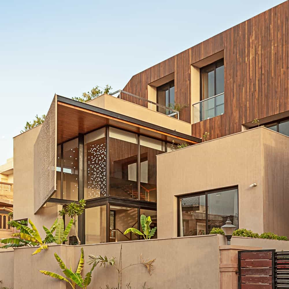 Exterior's closeup view of the Chhavi House (Oasis in the Thar Desert) designed by Abraham John Architects.