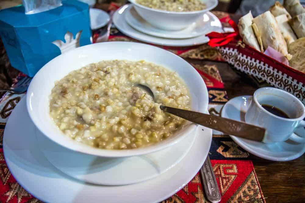 Traditional Armenian porridge with meat.