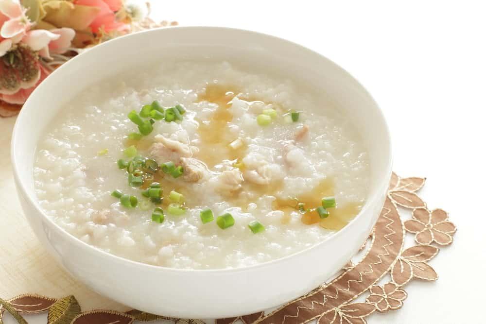 Chicken congee with sesame oil.
