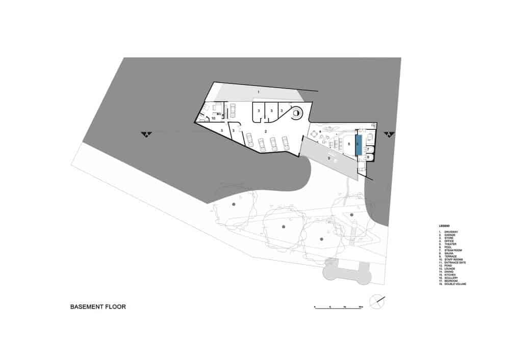 Basement floor plan of the Lake House designed by ARRCC.