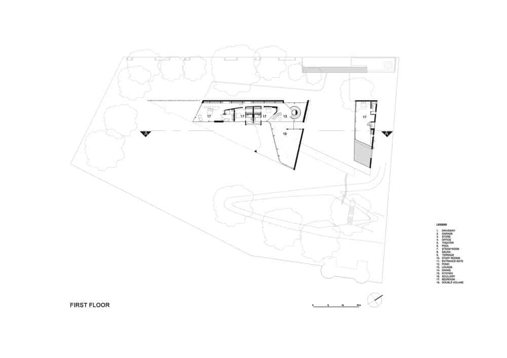 First level floor plan of the Lake House designed by ARRCC.