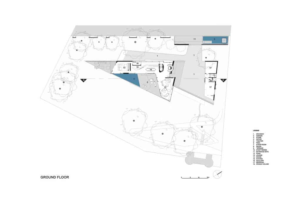 Ground level floor plan of the Lake House designed by ARRCC.